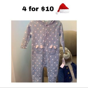 Baby Boy Blue Cover-all w/ White Paw-prints 3-6 mo